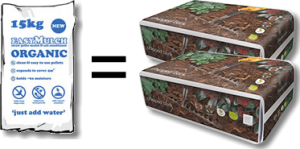 easymulch 1kkg is equivolent to 200 litres of bark mulch