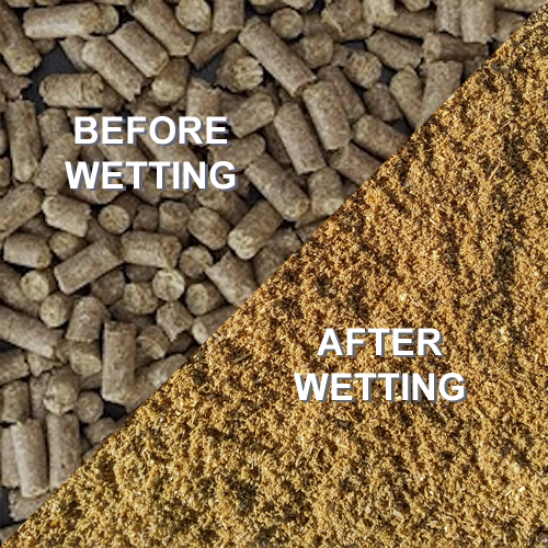 easymulch pellets before and after wetting